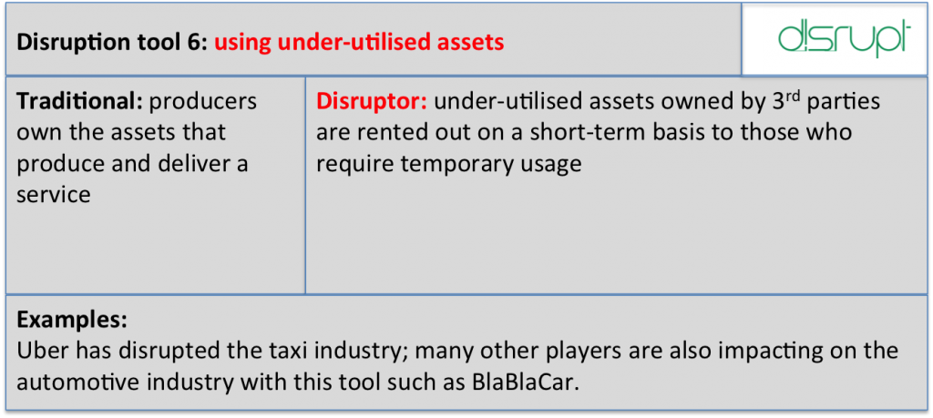 Disrupt tool 6 under utilised assets